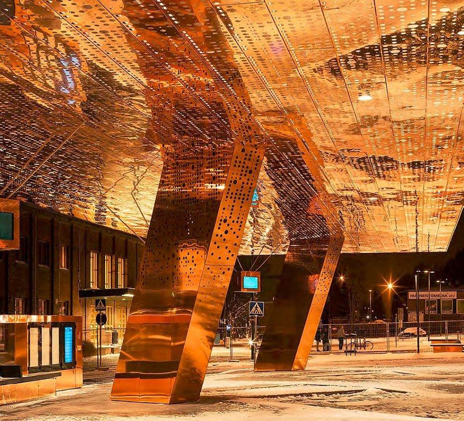 Транспортный центр в финском городе Лахти является примером использования меди в современной архитектуре